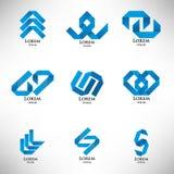 Συλλογή του αφηρημένου μπλε λογότυπου στο ύφος origami Στοκ Εικόνες
