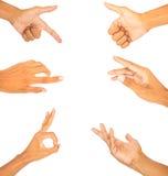 Συλλογή του λευκού συμβόλων δάχτυλων χεριών που απομονώνεται στοκ εικόνες