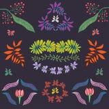 Συλλογή του διανυσματικού συνόλου φυτών, λουλουδιών και φύλλων Στοκ εικόνα με δικαίωμα ελεύθερης χρήσης