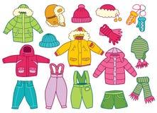 Συλλογή του ιματισμού των χειμερινών παιδιών απεικόνιση αποθεμάτων