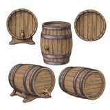 Συλλογή του κρασιού, ρούμι, κλασσικά ξύλινα βαρέλια μπύρας απεικόνιση αποθεμάτων