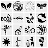 Λογικά εικονίδια Eco καθορισμένα Στοκ Εικόνα