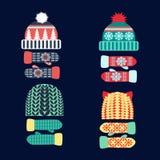 Συλλογή του πλεκτών μάλλινων καπέλου και των γαντιών Στοκ φωτογραφία με δικαίωμα ελεύθερης χρήσης