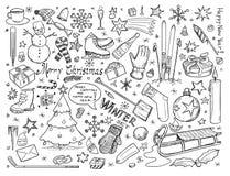 Συλλογή του χειμώνα doodles Στοκ Φωτογραφίες