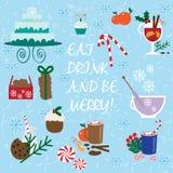 Συλλογή τροφίμων και ποτών Χριστουγέννων Στοκ Φωτογραφίες