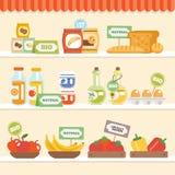 Συλλογή τροφίμων στο ράφι ελεύθερη απεικόνιση δικαιώματος