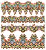 Συλλογή των άνευ ραφής διακοσμητικών floral λωρίδων Στοκ Φωτογραφίες