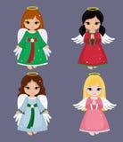 Συλλογή των αγγέλων Χριστουγέννων επίσης corel σύρετε το διάνυσμα απεικόνισης Στοκ Φωτογραφίες