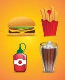 Συλλογή των απεικονίσεων τροφίμων και ποτών Στοκ Φωτογραφία