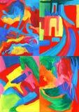 Συλλογή των αφηρημένων έργων ζωγραφικής τέχνης Στοκ Εικόνες