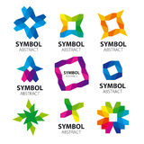 Συλλογή των αφηρημένων διανυσματικών λογότυπων των ενοτήτων Στοκ φωτογραφία με δικαίωμα ελεύθερης χρήσης