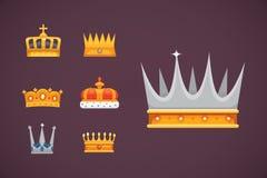 Συλλογή των βραβείων εικονιδίων κορωνών για τους νικητές, πρωτοπόροι, ηγεσία Βασιλικός βασιλιάς, βασίλισσα, κορώνες πριγκηπισσών ελεύθερη απεικόνιση δικαιώματος