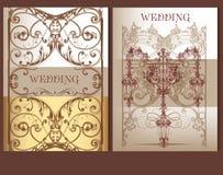 Συλλογή των γαμήλιων καρτών στα χρώματα κρητιδογραφιών Στοκ εικόνες με δικαίωμα ελεύθερης χρήσης