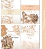 Συλλογή των γαμήλιων υποβάθρων με τα λουλούδια Στοκ Εικόνα