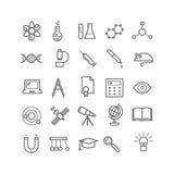 Συλλογή των εικονιδίων επιστήμης περιλήψεων Λεπτά εικονίδια για τον Ιστό, τυπωμένη ύλη, κινητά apps ελεύθερη απεικόνιση δικαιώματος