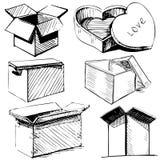 Συλλογή των εικονιδίων κιβωτίων Στοκ Εικόνες