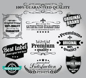 Συλλογή των εκλεκτής ποιότητας αναδρομικών ετικετών, διακριτικά, γραμματόσημα, κορδέλλες Στοκ εικόνα με δικαίωμα ελεύθερης χρήσης