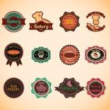 Συλλογή των εκλεκτής ποιότητας αναδρομικών διακριτικών και των ετικετών αρτοποιείων Ελεύθερη απεικόνιση δικαιώματος