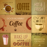 Συλλογή των εκλεκτής ποιότητας στοιχείων καφέ Στοκ Εικόνα