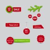 Συλλογή των εμβλημάτων πώλησης Χριστουγέννων και των νέων εμβλημάτων πώλησης έτους Στοκ Φωτογραφία