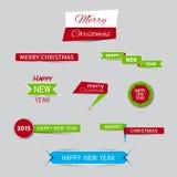 Συλλογή των εμβλημάτων Χριστουγέννων και των νέων εμβλημάτων έτους Στοκ εικόνες με δικαίωμα ελεύθερης χρήσης