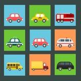 Συλλογή των επίπεδων εικονιδίων μεταφορών Στοκ Φωτογραφία