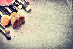 Συλλογή των επαγγελματικών βουρτσών makeup Στοκ Εικόνες