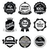 Συλλογή των ετικετών εξαιρετικών ποιότητας και εγγύησης αναδρομικών Στοκ Εικόνες