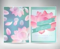 Συλλογή των ευχετήριων καρτών με ένα lotusfor ανθών το σχέδιό σας σύσταση με το ιαπωνικό floral σχέδιο Στοκ φωτογραφίες με δικαίωμα ελεύθερης χρήσης