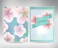 Συλλογή των ευχετήριων καρτών με ένα sakura ανθών για το σχέδιό σας σύσταση με το ιαπωνικό floral σχέδιο Στοκ εικόνες με δικαίωμα ελεύθερης χρήσης