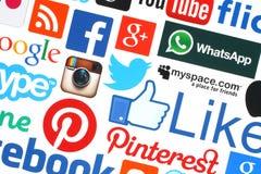Συλλογή των δημοφιλών κοινωνικών λογότυπων μέσων Στοκ φωτογραφία με δικαίωμα ελεύθερης χρήσης