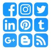 Συλλογή των δημοφιλών μπλε κοινωνικών εικονιδίων μέσων που τυπώνονται σε χαρτί διανυσματική απεικόνιση