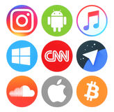 Συλλογή των δημοφιλών στρογγυλών κοινωνικών μέσων, των ειδήσεων, της μουσικής και άλλων λογότυπων Στοκ Φωτογραφία