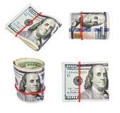 Συλλογή των Ηνωμένων δολαρίων, απομονώνω σε ένα λευκό Στοκ Εικόνα