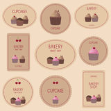 Συλλογή των διακριτικών, των ετικετών και των εικονιδίων αρτοποιείων Στοκ Εικόνες