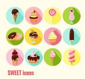 Συλλογή των διανυσματικών γλυκών εικονιδίων Στοκ Φωτογραφίες