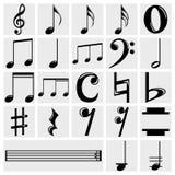 Διανυσματικά εικονίδια σημειώσεων μουσικής που τίθενται σε γκρίζο Στοκ Φωτογραφίες