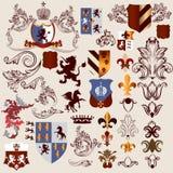 Συλλογή των διανυσματικών εραλδικών στοιχείων για το σχέδιο Στοκ Εικόνες