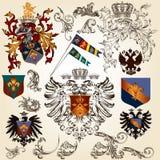 Συλλογή των διανυσματικών εραλδικών στοιχείων για το σχέδιο Στοκ εικόνες με δικαίωμα ελεύθερης χρήσης
