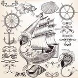 Συλλογή των διανυσματικών καλλιγραφικών στοιχείων στο θέμα της θάλασσας Στοκ φωτογραφία με δικαίωμα ελεύθερης χρήσης