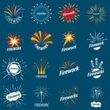 Συλλογή των διανυσματικών λογότυπων για τα πυροτεχνήματα Στοκ Εικόνες