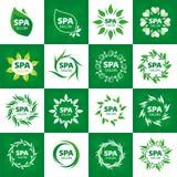 Συλλογή των διανυσματικών λογότυπων για το σαλόνι SPA Στοκ Φωτογραφία
