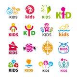 Συλλογή των διανυσματικών παιδιών λογότυπων Στοκ φωτογραφία με δικαίωμα ελεύθερης χρήσης
