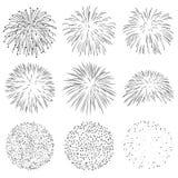 Συλλογή των διανυσματικών σπινθήρων έκρηξης πυραύλων πυροτεχνημάτων καθορισμένων Στοκ Εικόνα