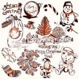 Συλλογή των διανυσματικών συρμένων χέρι στοιχείων Χριστουγέννων στο εκλεκτής ποιότητας ST Στοκ εικόνες με δικαίωμα ελεύθερης χρήσης