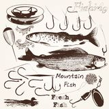 Συλλογή των διανυσματικών συρμένων χέρι ψαριών και των γάντζων για την αλιεία της θάλασσας Στοκ φωτογραφία με δικαίωμα ελεύθερης χρήσης
