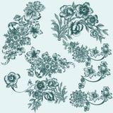 Συλλογή των διανυσματικών συρμένων χέρι floral στοιχείων Στοκ φωτογραφία με δικαίωμα ελεύθερης χρήσης