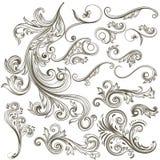 Συλλογή των διανυσματικών συρμένων χέρι floral στροβίλων για το σχέδιο Στοκ Εικόνα