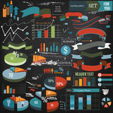 Συλλογή των διανυσματικών infographic στοιχείων, κορδέλλες Στοκ Εικόνα