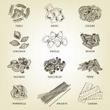 Συλλογή των διαφορετικών ειδών των μακαρονιών απεικόνιση αποθεμάτων